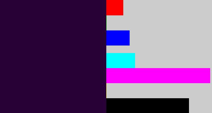 Midnight purple | hex #280137 | rgb 40, 1, 55